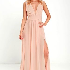 Lulu's Heavenly Hues Taupe Maxi Dress